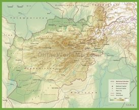 Detailed physical map of Afghanistan
