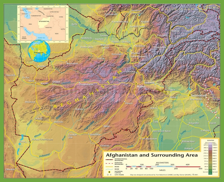 Large physical map of Afghanistan