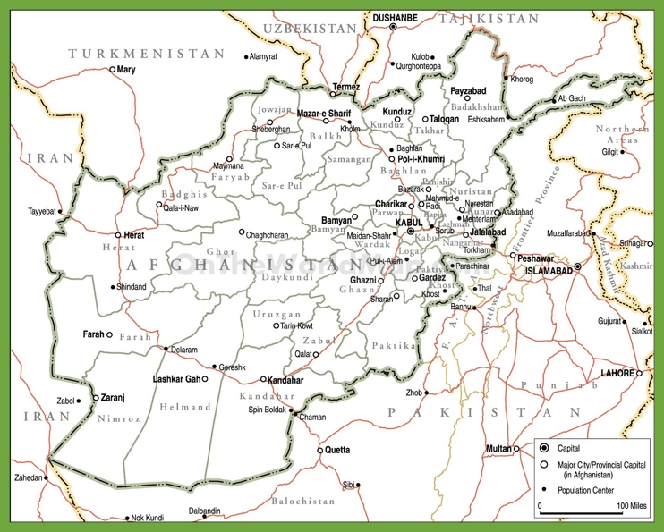 Political map of Afghanistan with provinces