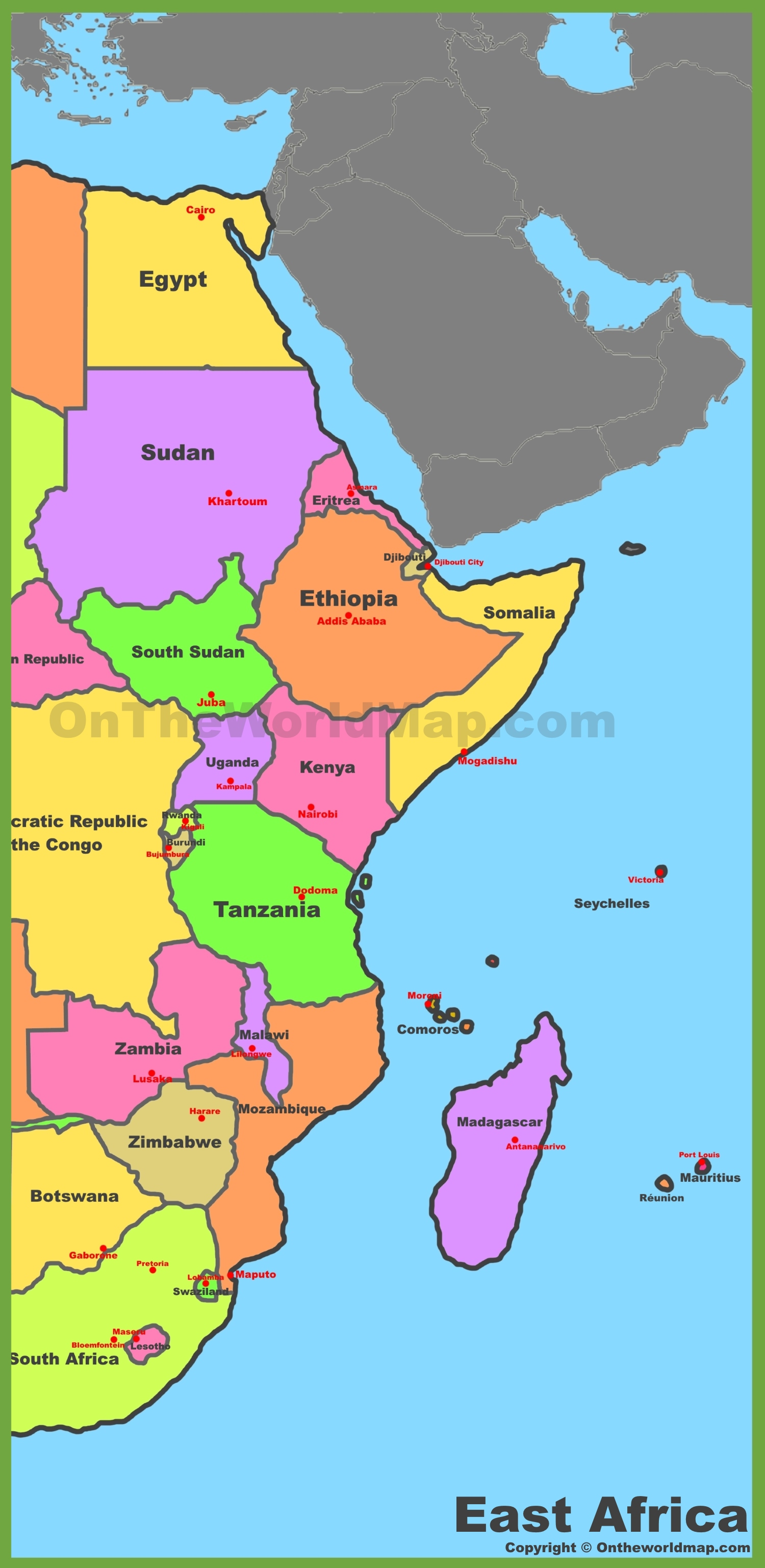 Map Of East Africa - Map of eastern africa