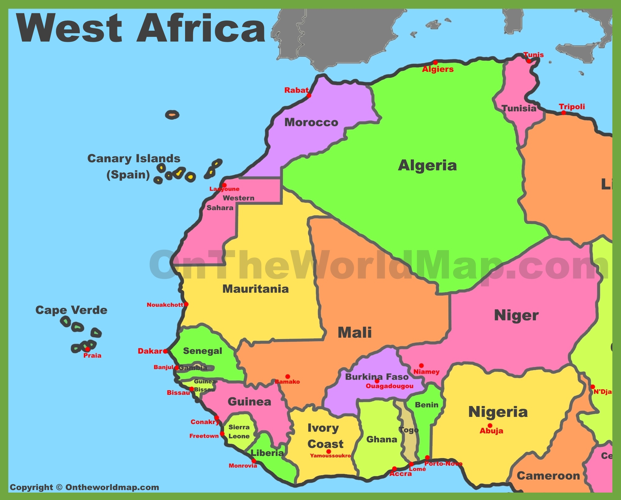 Map Of Africa With Countries And Capitals.Map Of West Africa