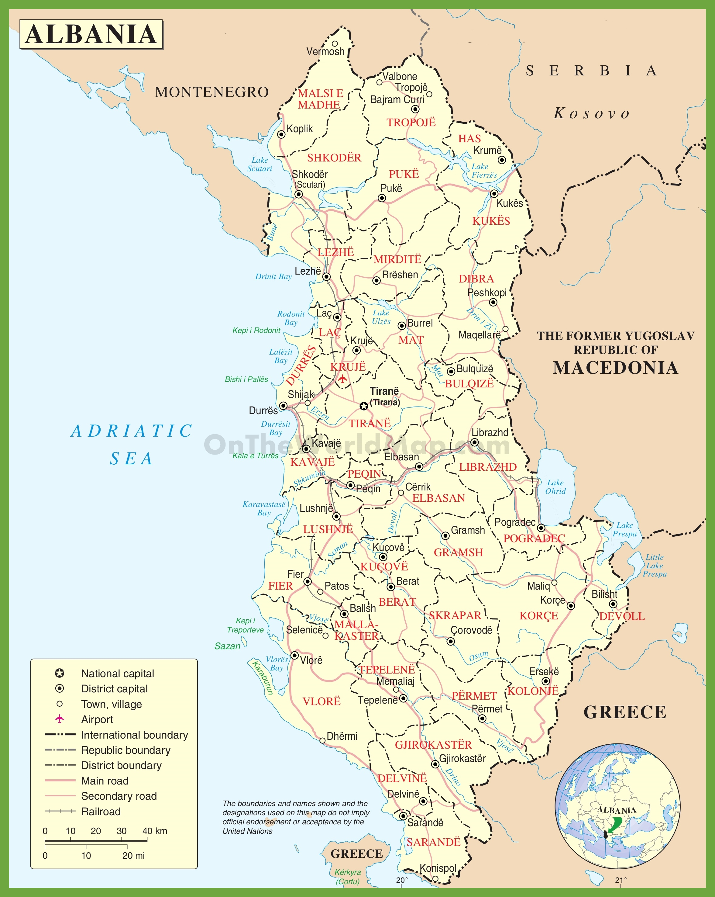 Albania Maps Maps Of Albania - Political map of albania