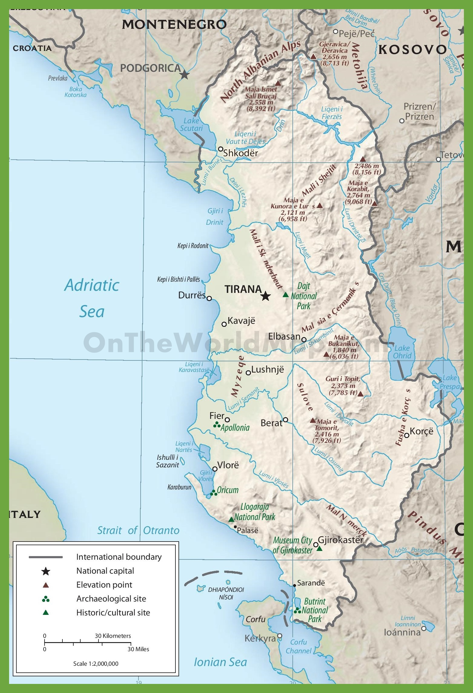 Physiographic map of Albania