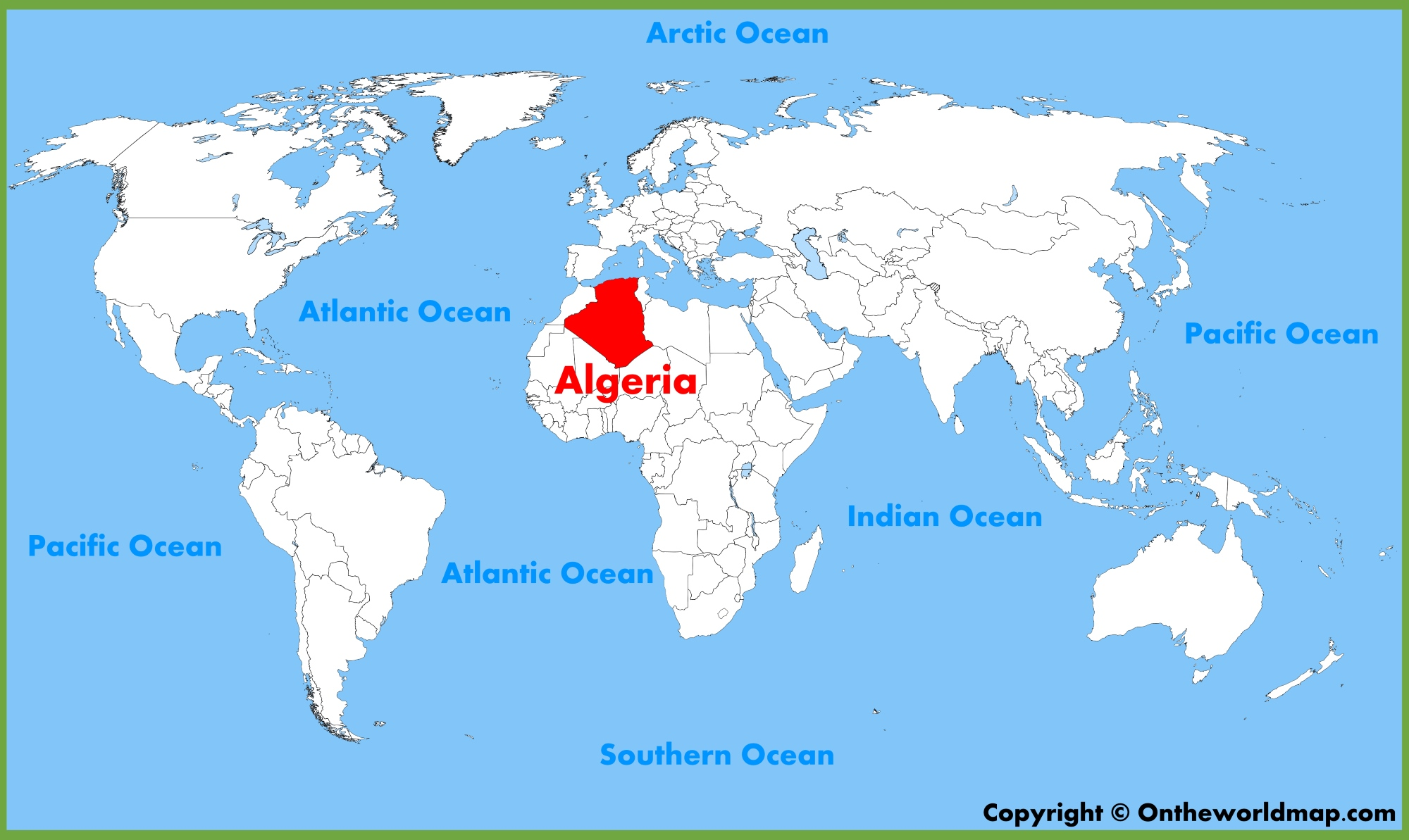 Algeria Location On World Map.Algeria Location On The World Map
