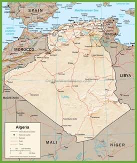 Detailed political map of Algeria with roads