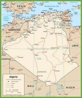Large detailed road map of Algeria