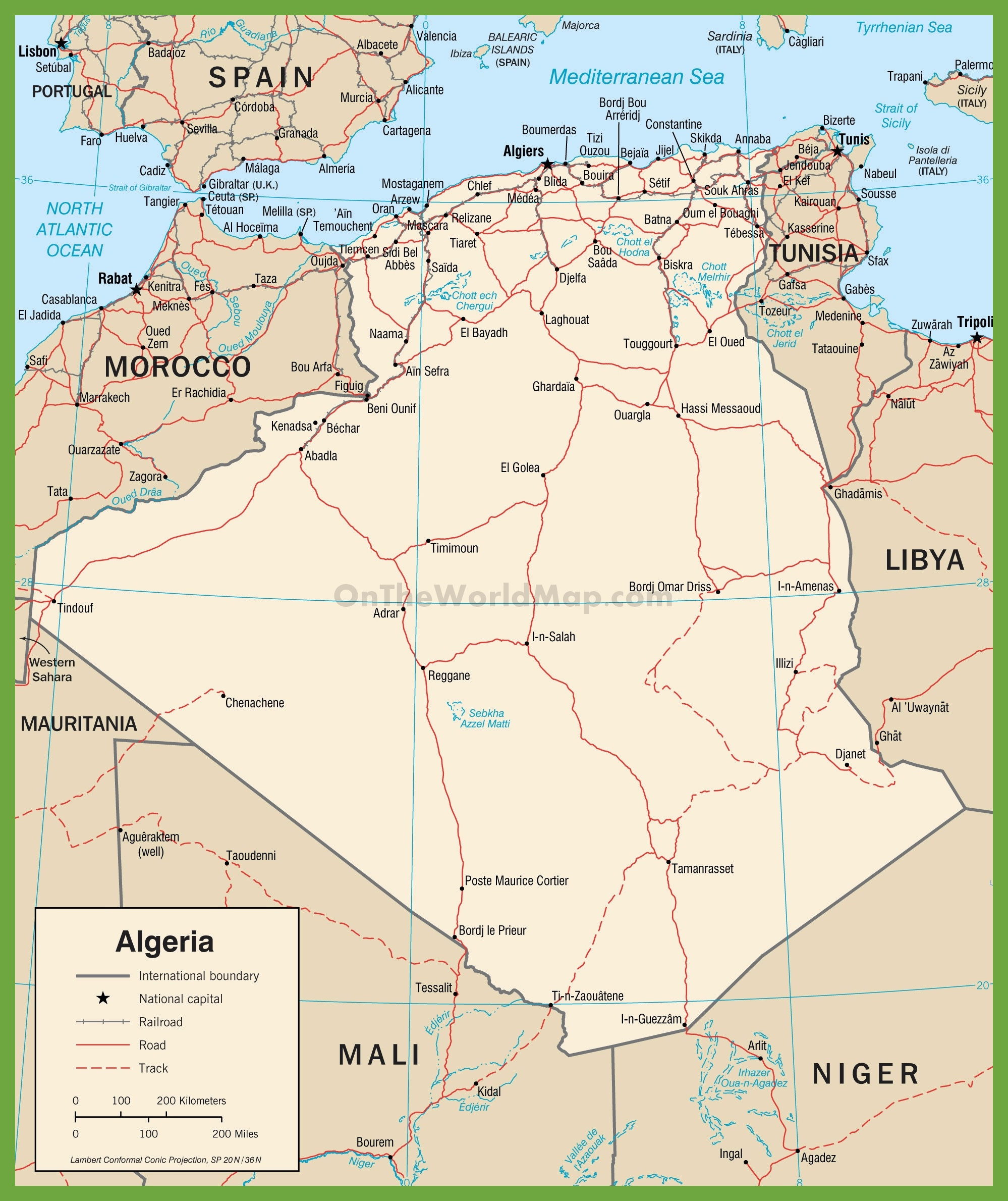 Algeria Maps Maps Of Algeria - Algeria physical map