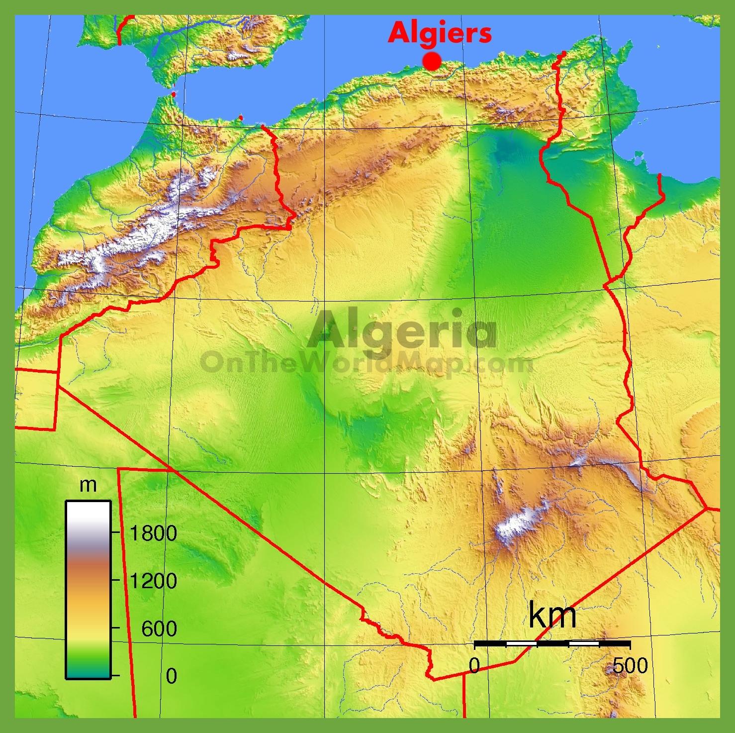 Map Of Algeria Physical map of Algeria Map Of Algeria