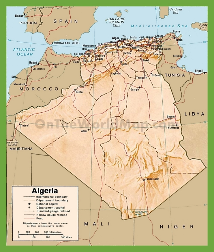 Political map of Algeria