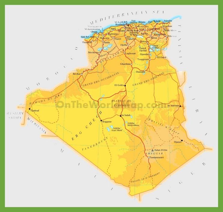 Road map of Algeria