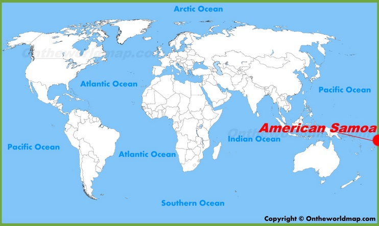 American Samoa location on the World Map