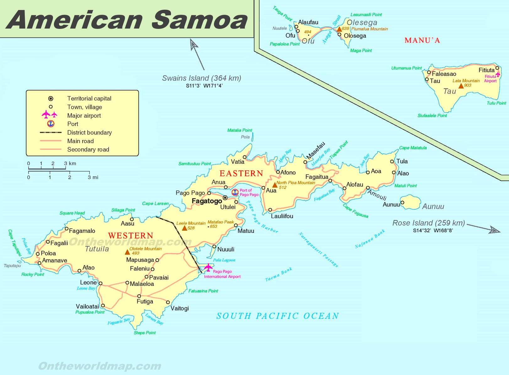 Large detailed map of American Samoa on