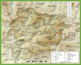 Detailed physical map of Andorra