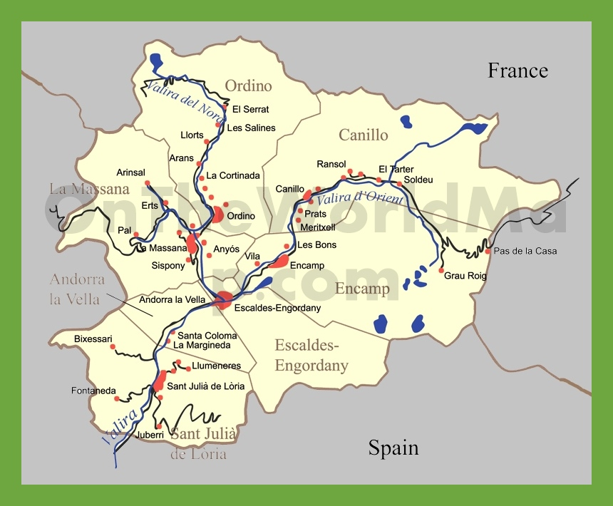 Road map of Andorra