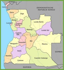 Administrative map of Angola