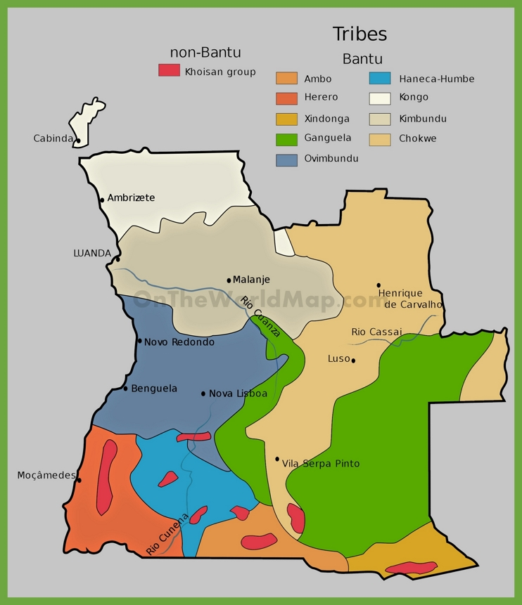 Map of ethnic groups in Angola