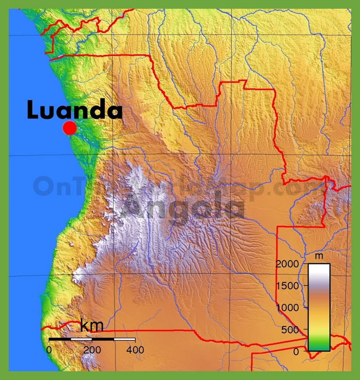 Physical map of Angola