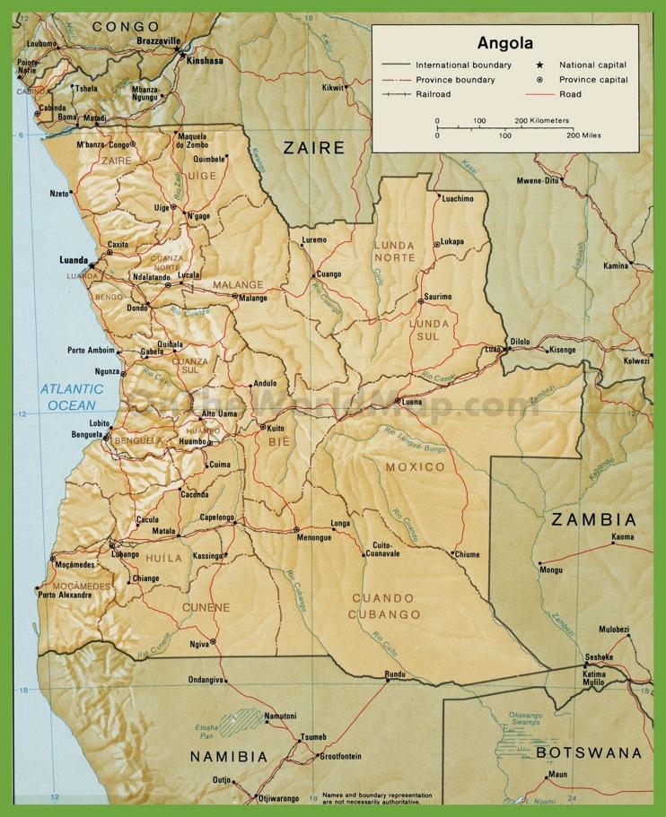 Road map of angola