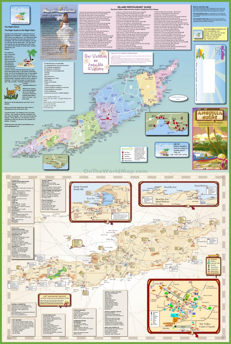 Large detailed tourist map of Anguilla