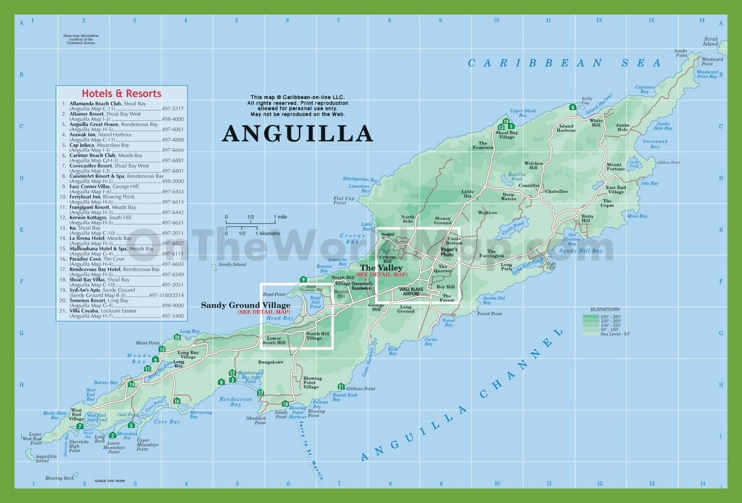 Map of Anguilla with hotels and resorts