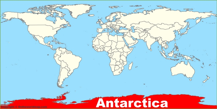 Antarctica location on the World Map