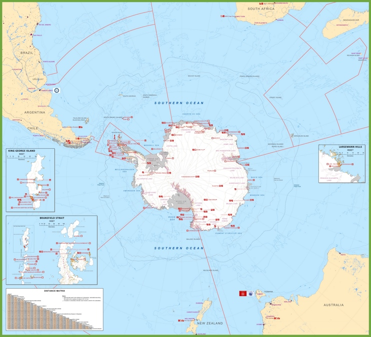 Antarctica stations map