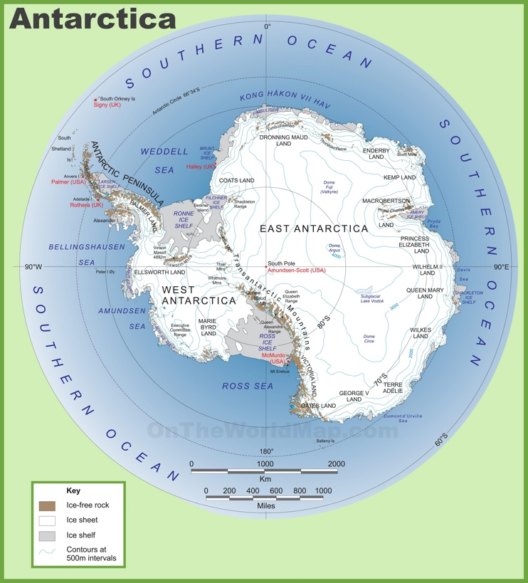 Large detailed map of Antarctica