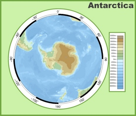 Physical map of Antarctica