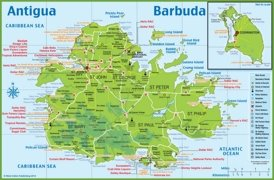 Large detailed tourist map of Antigua and Barbuda