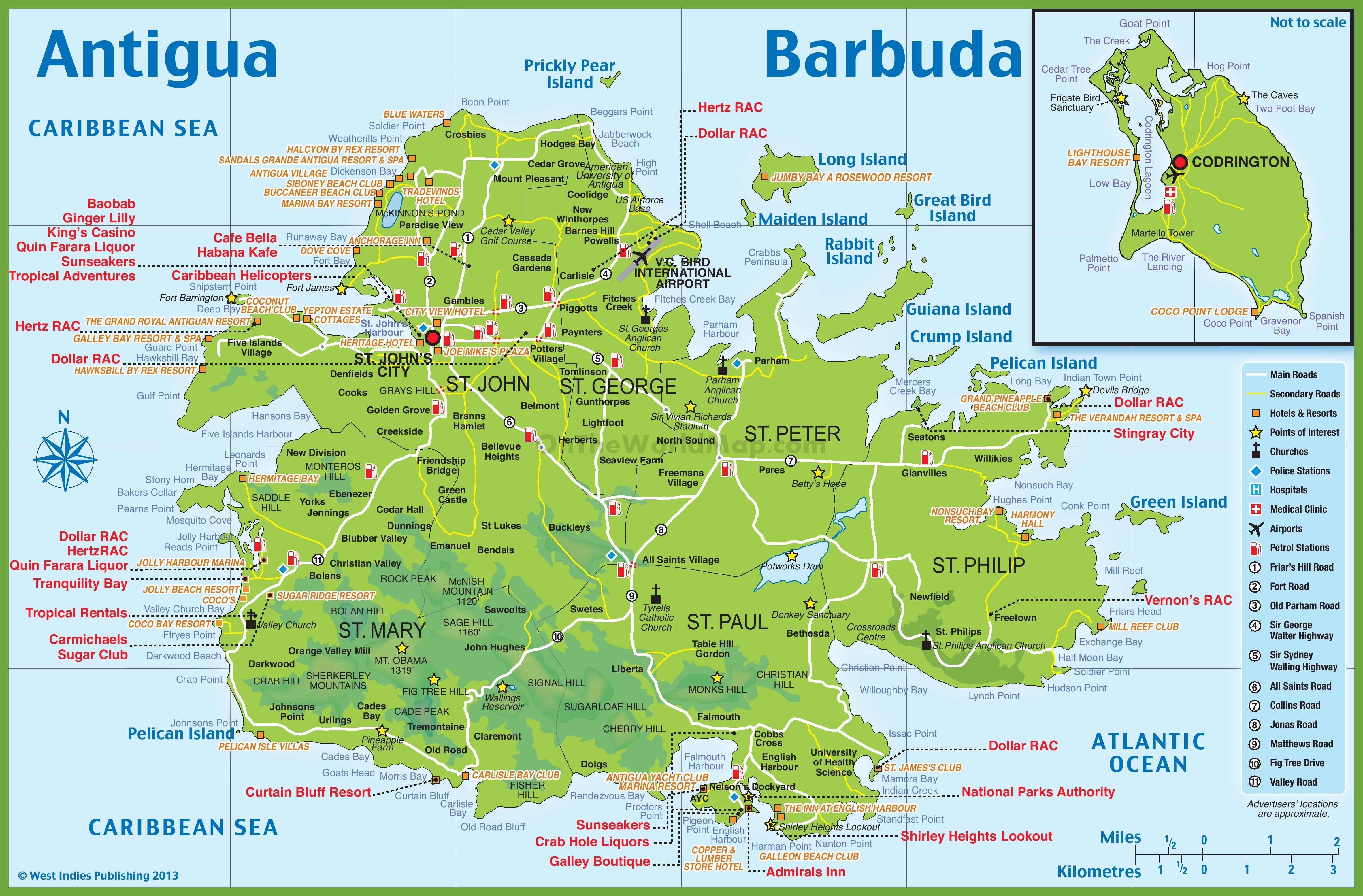 Map Of Antigua And Barbuda Large detailed tourist map of Antigua and Barbuda