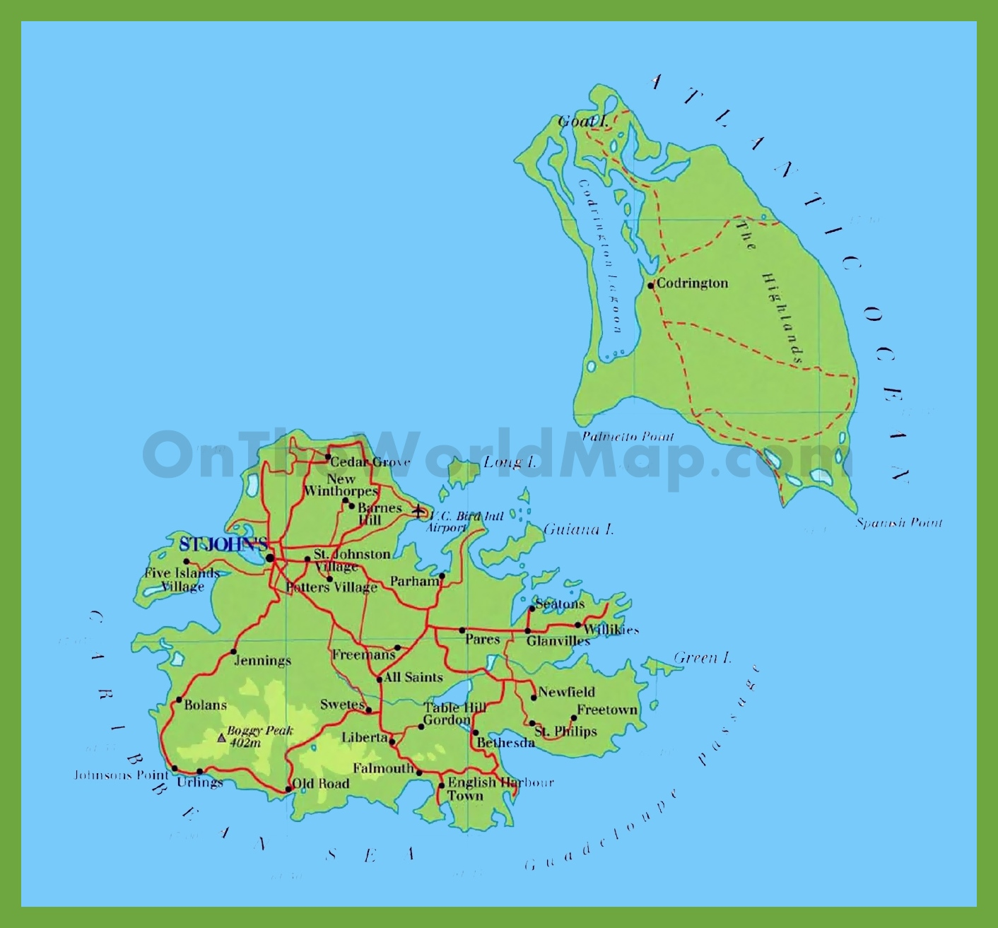 Map Of Antigua And Barbuda Road map of Antigua and Barbuda