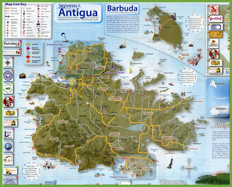 Tourist map of Antigua and Barbuda