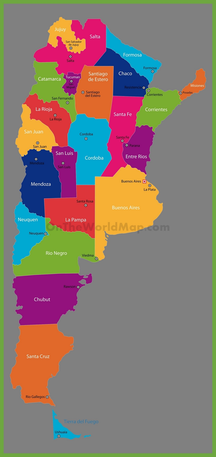 Administrative map of Argentina with provinces