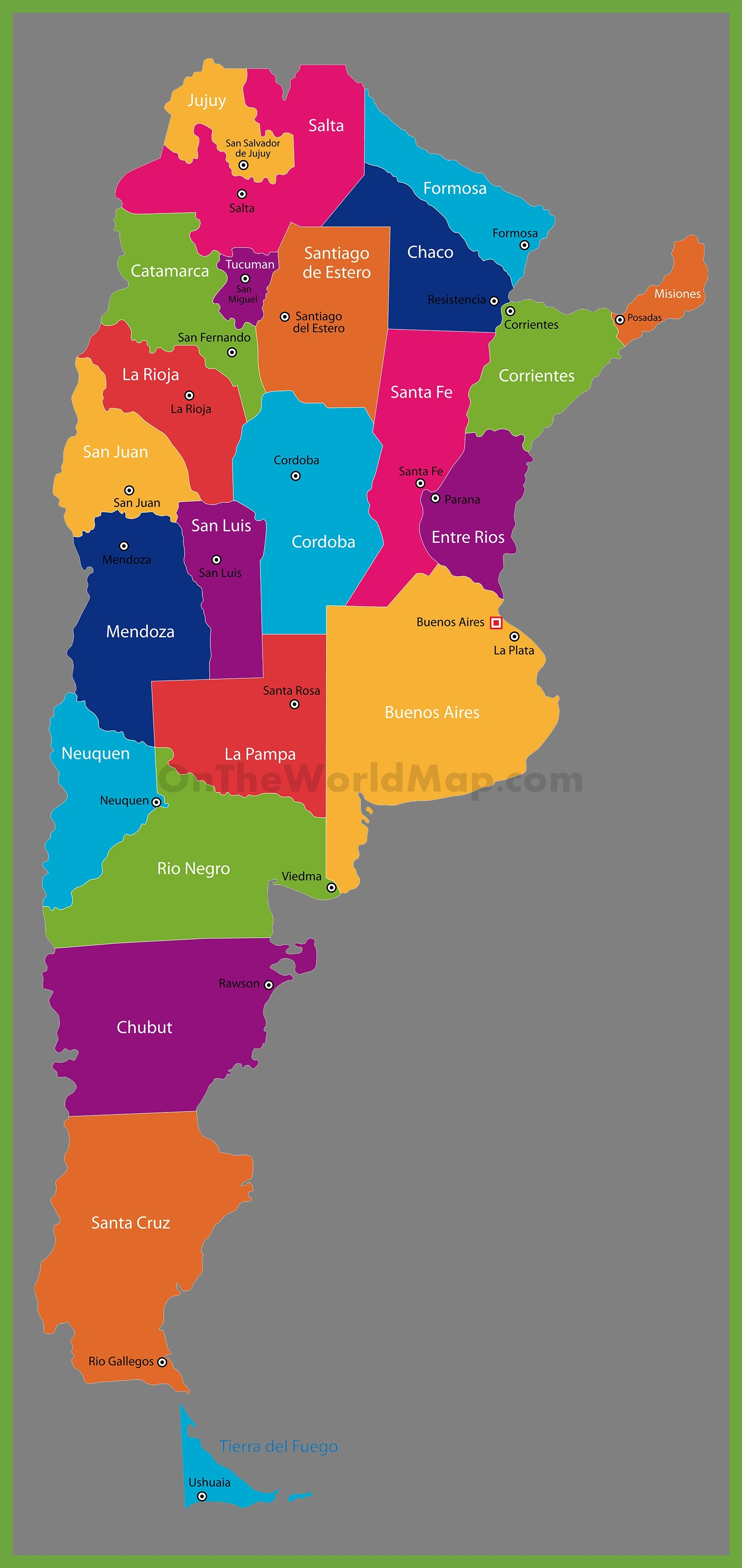 Administrative Map Of Argentina With Provinces - Argentina map cities