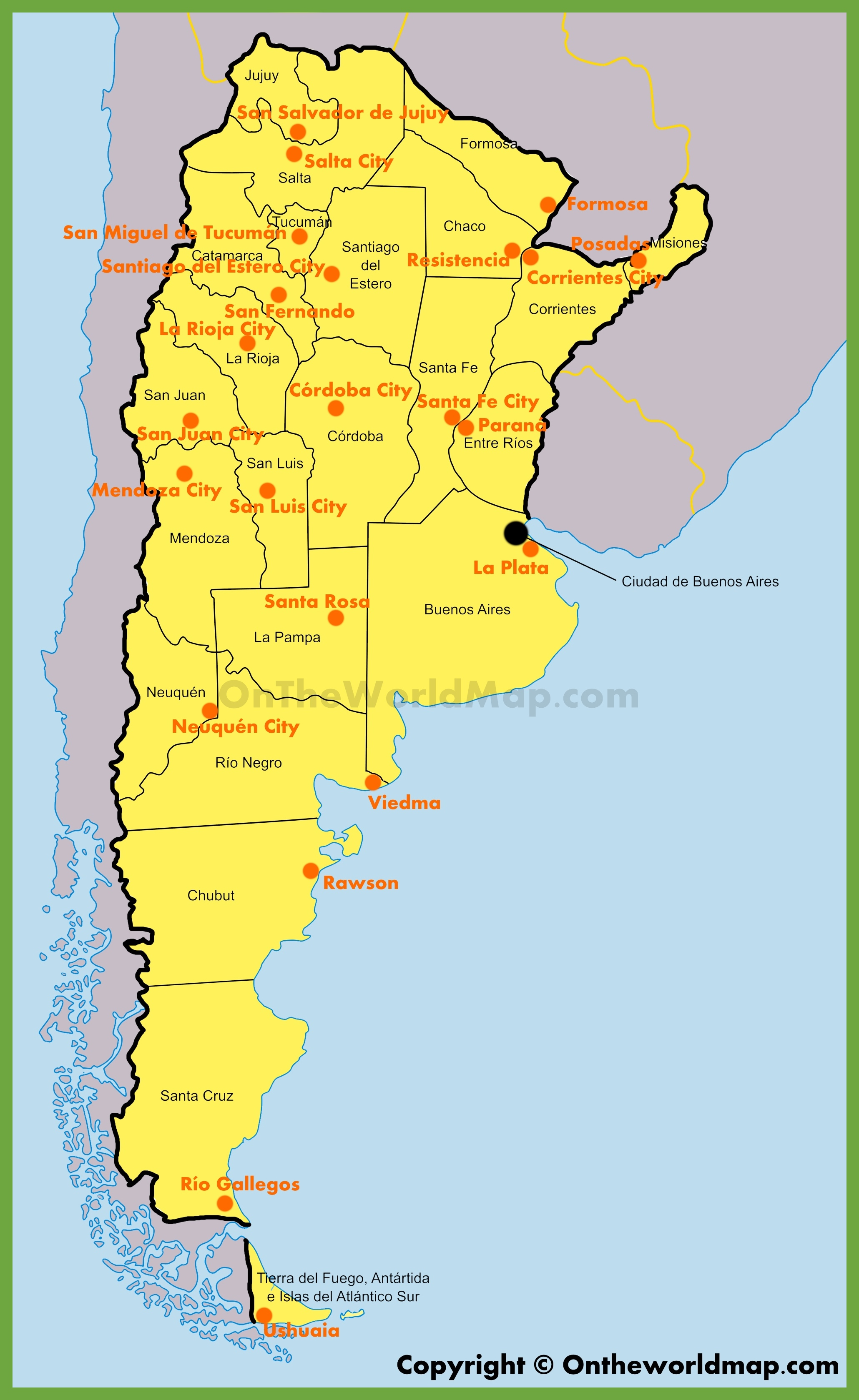 Administrative Map Of Argentina - Argentina map provinces