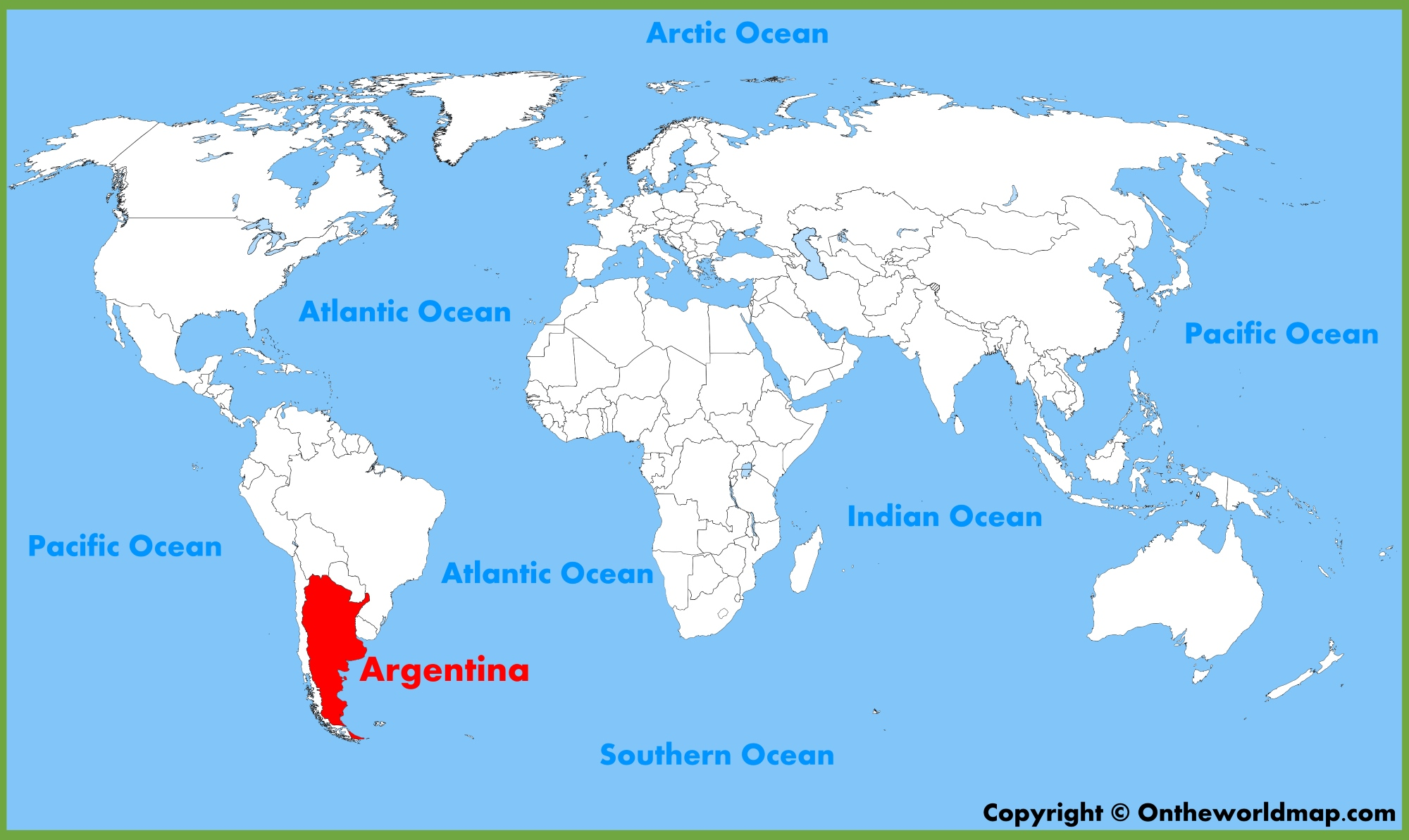 Argentina Location On The World Map - Argentina global map
