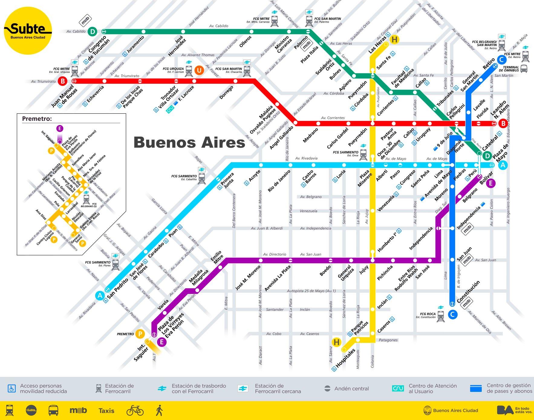 Buenos Aires Metro Map