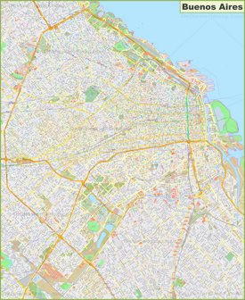 Large detailed map of Buenos Aires
