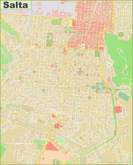 Large detailed map of Salta
