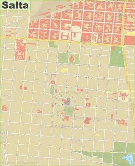Salta city center map