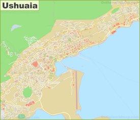 Large detailed map of Ushuaia