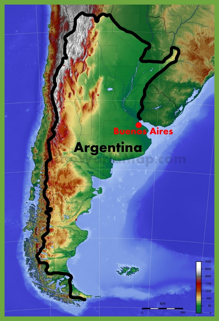 Physical map of Argentina