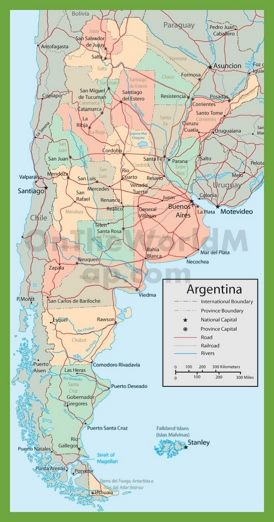 Road map of Argentina