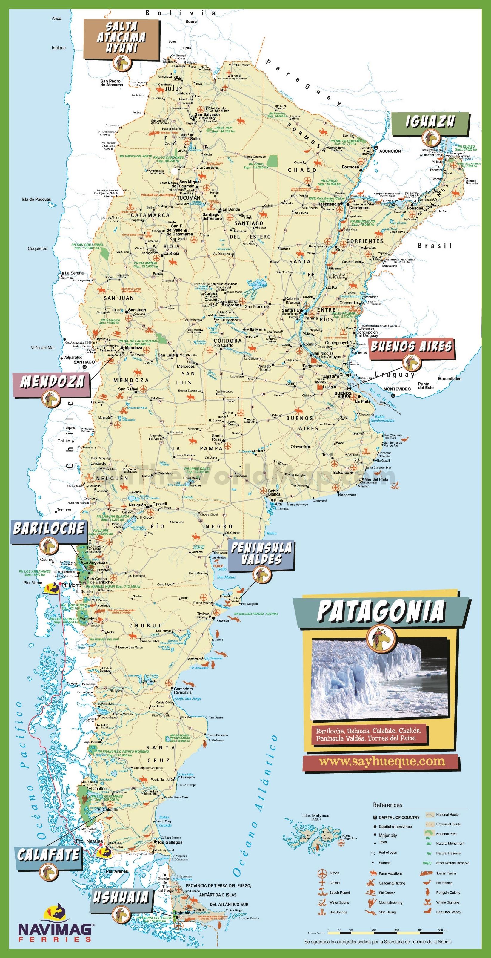 Argentina Maps – Santa Fe Tourist Map