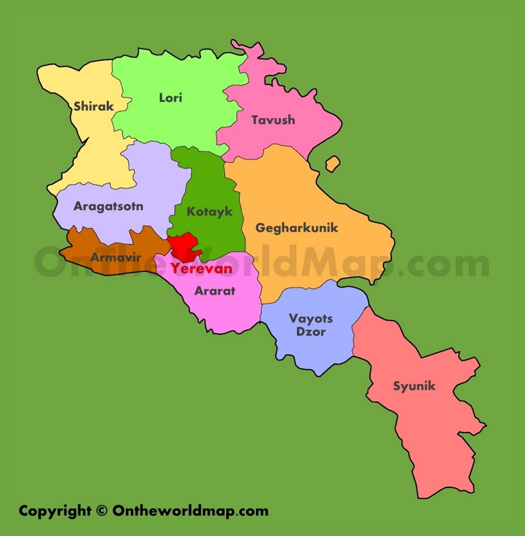 Administrative map of Armenia