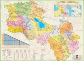 Large detailed map of Armenia and Karabakh republic
