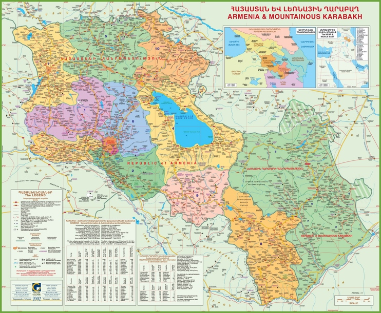 Large detailed map of Armenia with Karabakh