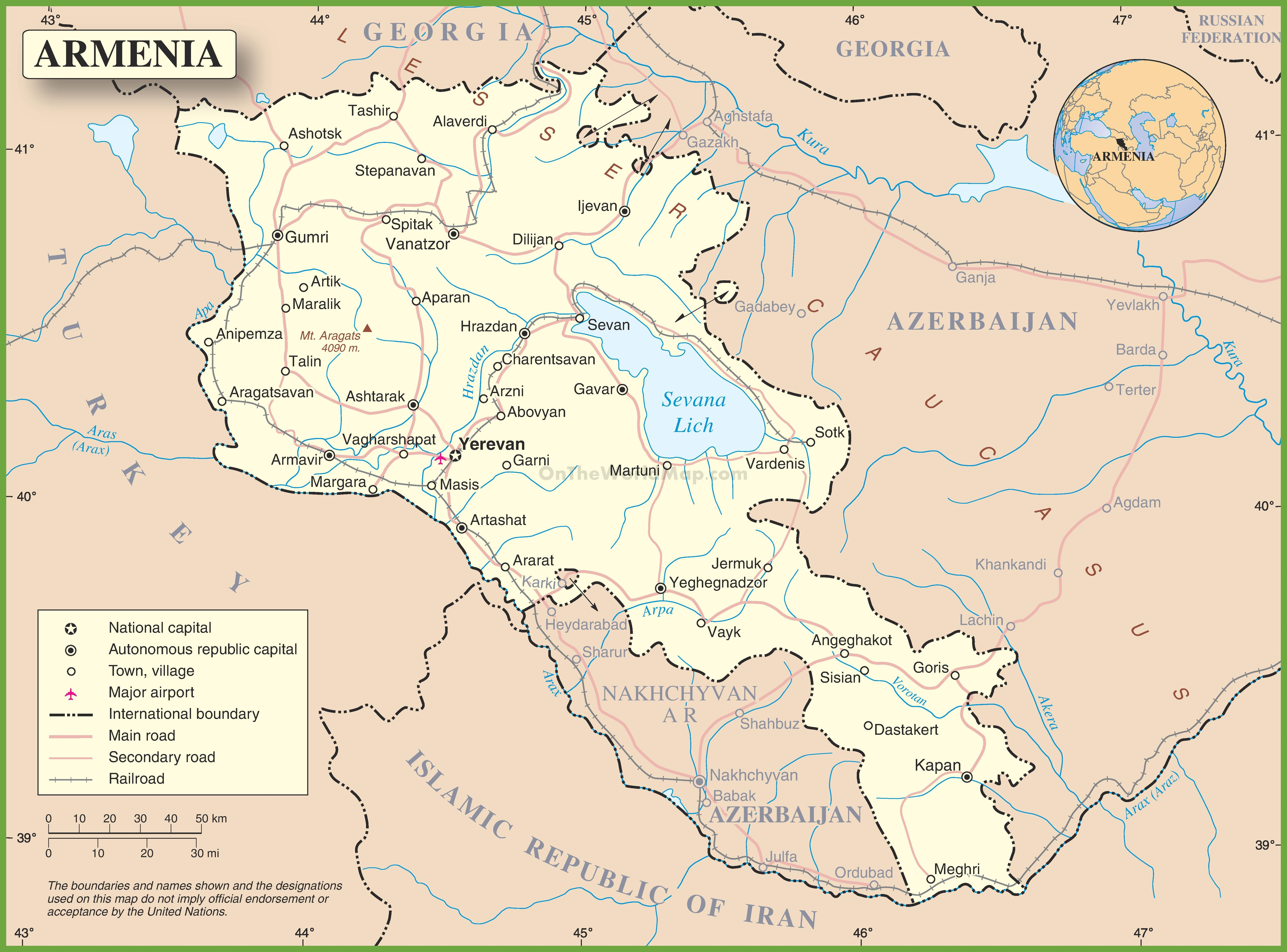 Large detailed road map of Armenia