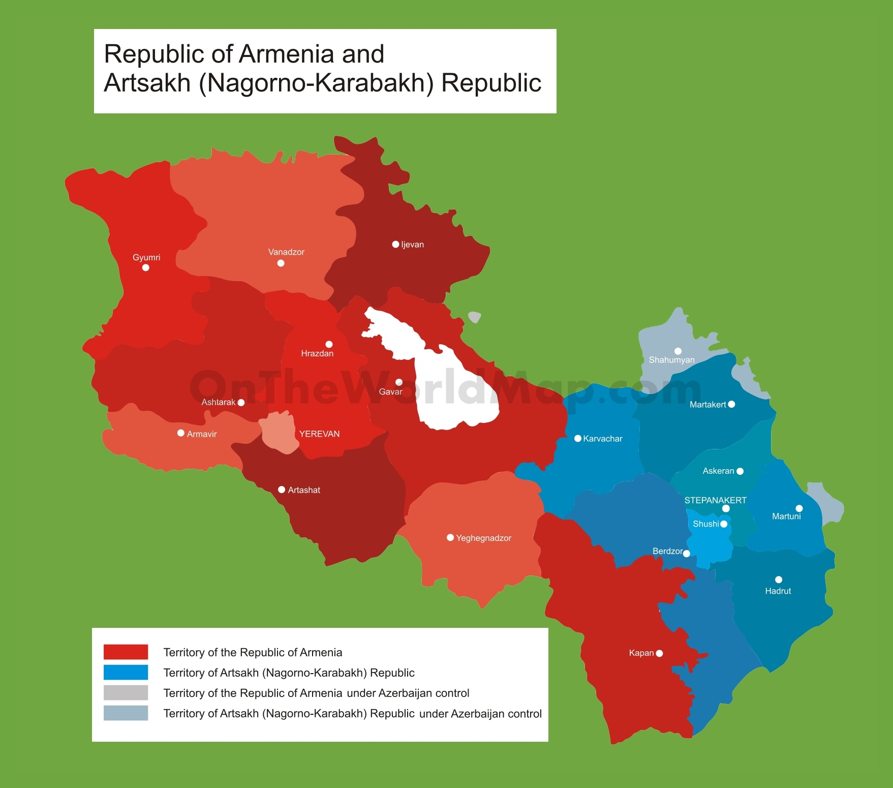 Map of Armenia and disputed territory of Nagorno Karabakh