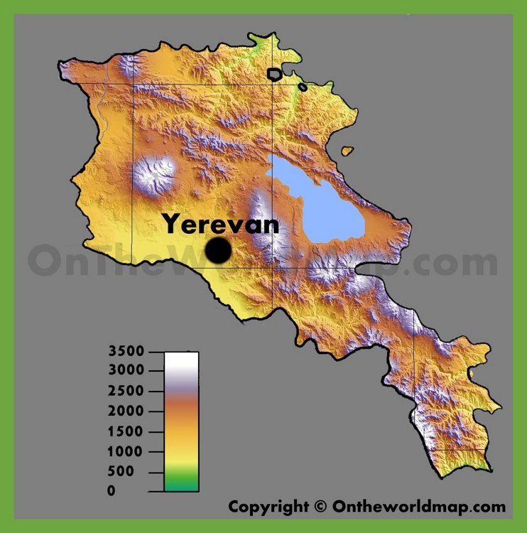 Physical map of Armenia